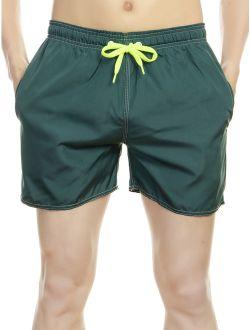 Adult Casual Mens Swim Trunks Board Shorts Bathing Swimsuit Elastic Waist Back Pockets With Zipper Surf Swim Shorts Summer Beachsuit Underwear Dark Green