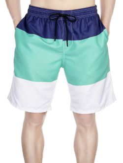 Mens Breathable Swim Trunks Pants Swimwear Shorts Slim Wear Quick-dry Colorblock Beachwear