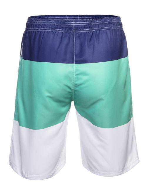 LELINTA Mens Breathable Swim Trunks Pants Swimwear Shorts Slim Wear Quick-Dry Colorblock Beachwear