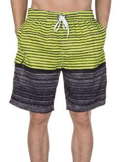 Mens Swim Trunks Watershort Swimsuit Board Colorblock Shorts Bathing Suits Elastic Waist Drawstring