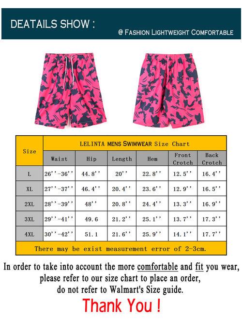 LELINTA Mens Swim Trunks Board Shorts Bathing Suits Elastic Waist Drawstring Blue/ Red, Up Size To 4X-Large