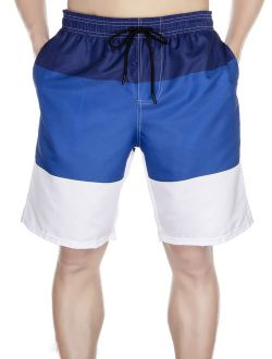 Mens Swim Trunks Summer Watershort Swimsuit Beach Board Quick Dry Colorblock Shorts Bathing Suits Elastic Waist Drawstring, Xl-5xl