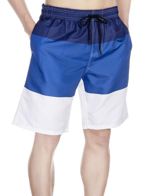 LELINTA Mens Swim Trunks Summer Watershort Swimsuit Beach Board Quick Dry Colorblock Shorts Bathing Suits Elastic Waist Drawstring, XL-5XL