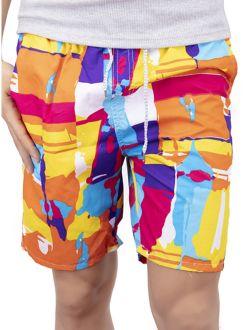 Mens Swim Trunks Board Shorts Bathing Suits Elastic Waist Drawstring, Red