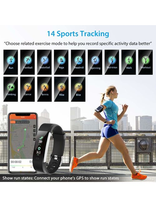 Fitness Tracker HR,fitness tracker with blood pressure monitor, Waterproof Smart Fitness Band with Step Counter, Calorie Counter, Pedometer Watch fitness tracker watch (B
