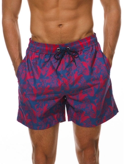 heymoney Mens Quick Dry Swim Trunks Boxer Briefs Swimsuit Board Shorts Purple XL