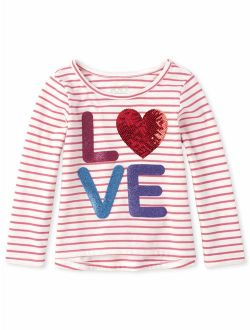 Long Sleeve Striped Sequin High-low T-shirt (baby Girls & Toddler Girls)