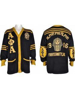 Buffalo Dallas Alpha Phi Alpha Fraternity Mens Cardigan Sweater [Black - M]
