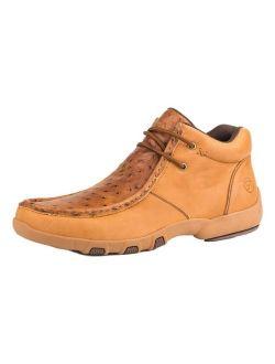 Roper Western Shoes Mens Moc Ostrich 8.5 D Tan 09-020-1780-2092 TA