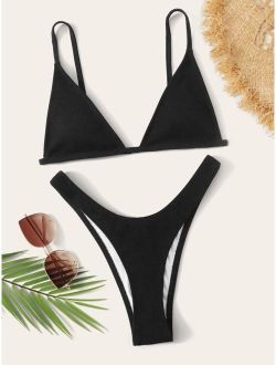 Triangle Top With High Cut Bikini Set