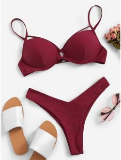 Criss Cross Underwire Top With High Leg Bikini