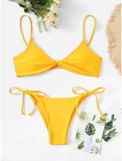 Twist Top With Self Tie Side Bikini Set