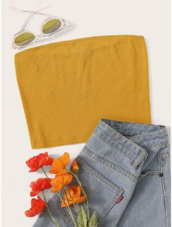 Solid Rib-knit Bandeau Top