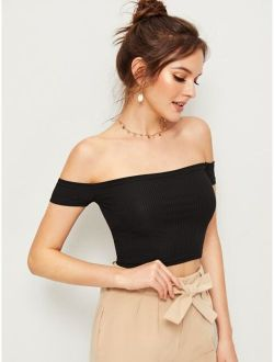 Off The Shoulder Rib Knit Tee