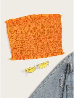 Neon-orange Frill Trim Shirred Tube Top