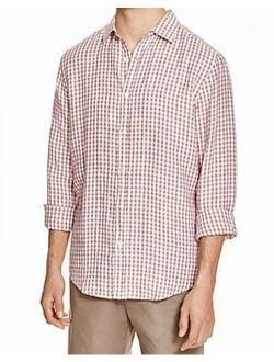 designer linen check regular fit button-down shirt (beige, m)