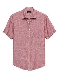 New Banana Republic Mens Short Sleeve Red Slim-Fit Red Linen Blend Button Down Shirt (L)