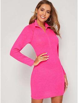 Neon Pink Zip Front High Neck Sweater Dress