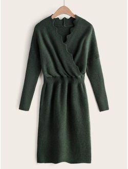 Elastic Waist Slit Hem Surplice Sweater Dress