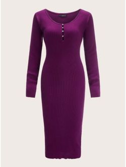 Pearls Half Placket Form Fitted Sweater Dress