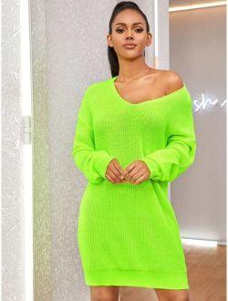 Neon Green Drop Shoulder Sweater Dress