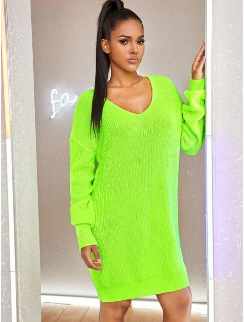 Shein Neon Green Drop Shoulder Sweater Dress