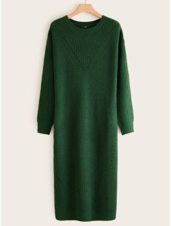 Chevron Pointelle Knit Sweater Dress