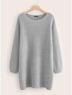 Drop Shoulder Chunky Knit Sweater Dress