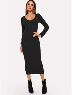 Ribbed Solid Skinny Sweater Dress
