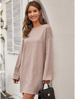 Drop Shoulder Lantern Sleeve Sweater Dress