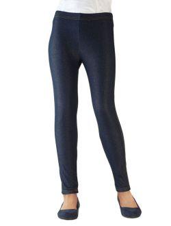 Vivian's Fashions Capri Leggings - Girls, Knit Denim (Blue, Large)