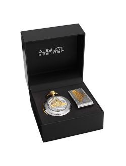 Men's Quartz Locomotive Pocket Silver-Tone Watch Money Clip