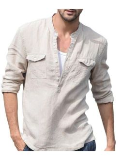 Men's Casual Long Sleeve Button Down Solid Cotton Linen Shirts Slim-Fit T Shirts