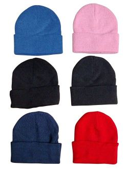 6 Pack Of excell Kids Winter Beanie Hat Assorted Colors
