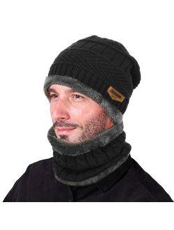 Winter Beanie Hat Scarf Set Warm Knit Hat Thick Knit Skull Cap For Men Women