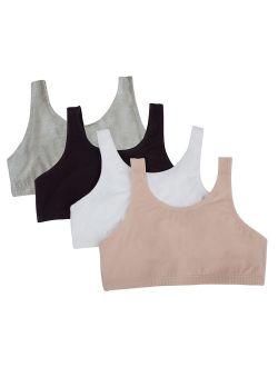 Fruit of the Loom Girls Built Up Strap Cotton Sport Bras, 4 Pack (Little Girls & Big Girls)