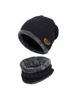 Mens Womens Knitted hat-Fitbest Mens Womens Warm Knitted Hat and Circle Scarf with Fleece Lining 2 Pieces/Set Winter Autumn Warm Hat Scarf