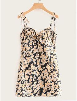 Tie Front Ditsy Floral Cami Dress