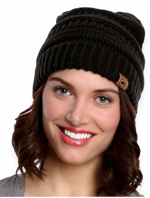 Tough Headwear Womens Cable Knit Beanie - Warm & Soft Stretch Winter Hats - Thick, Chunky & Soft Stretch Knitted Caps for Cold Weather - Stylish & Trendy Snow Beanies for