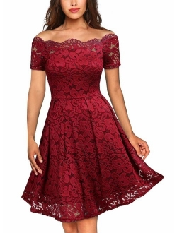 MISSMAY Women's Vintage Floral Lace Short Sleeve Boat Neck Cocktail Party Swing Dress