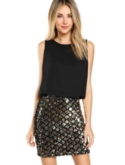 Women's Sexy Layered Look Fashion Club Wear Party Embellished  Sparkle Sequin Tank Dress