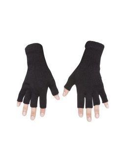 Gravity Threads Unisex Warm Half Finger Stretchy Knit Fingerless Gloves