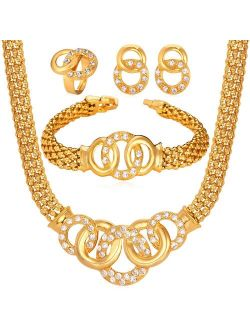 U7 Women Wedding Jewelry Set Platinum/18K Gold Plated Luxury 2-4 Pieces Necklace Bracelet Earrings Sets Bridesmaid Mother's Gift