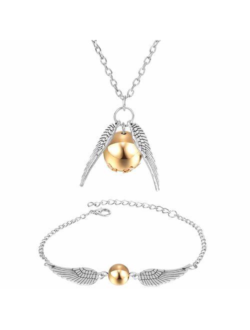 Bigib Set of Necklace and Bracelet for Harry Potter Fans Merchandise