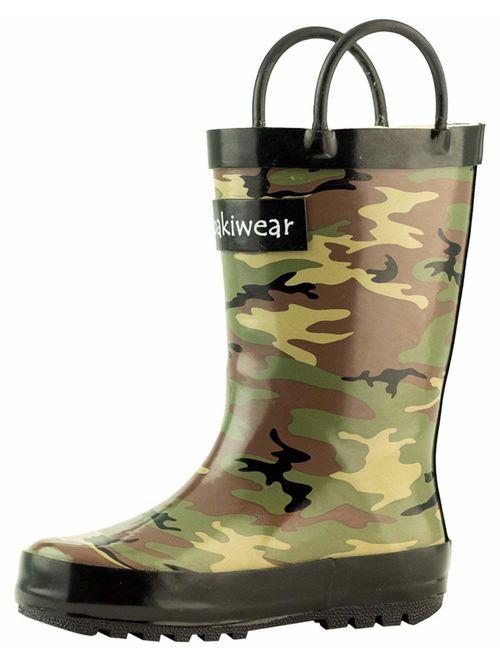 Kids Rain Boots for Girls /& Boys Waterproof Rubber Boots w//Easy-On Handles OAKI Toddler Rain Boots