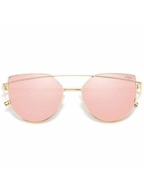 SOJOS Cat Eye Mirrored Flat Lenses Street Fashion Metal Frame Women Sunglasses SJ1001
