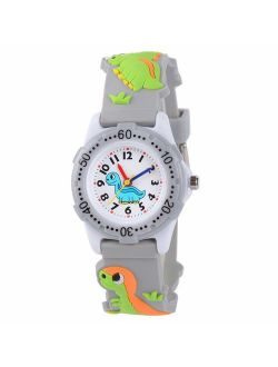 Turn Life Kids Watches, 3D Lovely Analog Dinosaur Cartoon Pattern Environmental Protection Silicone Band Waterproof Ideal Quartz Watch Gift for 3-10 Year Girls Boys Stude