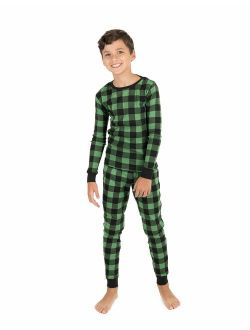 Kids Christmas Pajamas Boys Girls & Toddler Pajamas Moose Reindeer 2 Piece Pjs Set 100% Cotton (12 Months-14 Years)