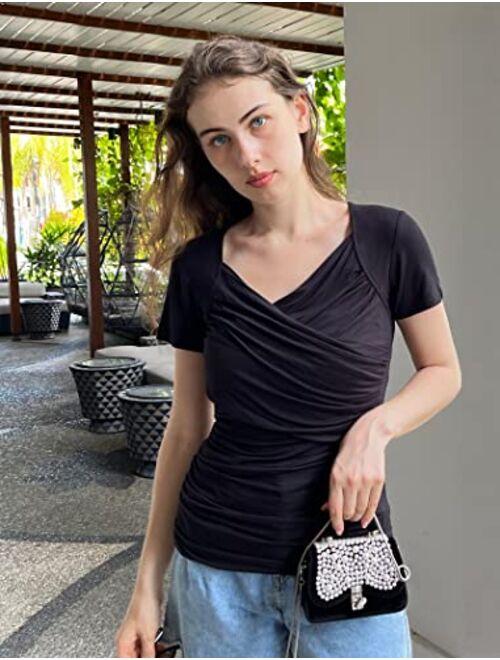 Zeagoo Women's Cross-Front V Neck Ruched Cap Sleeve Blouse