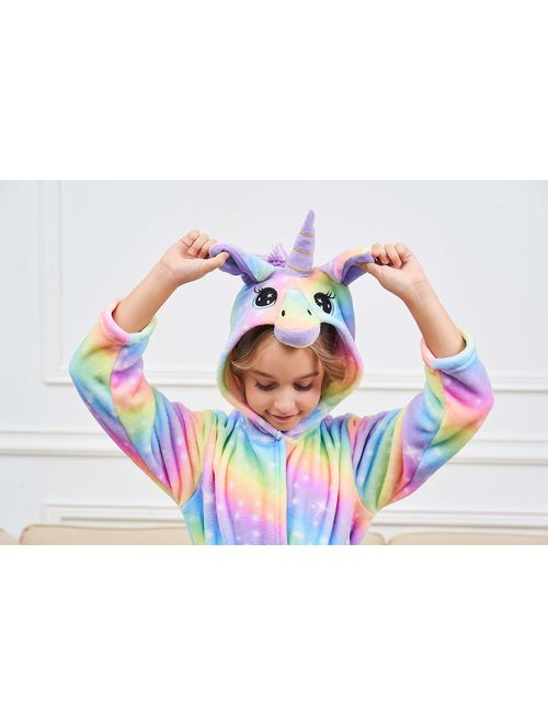 Unicorn Hooded Bathrobe Sleepwear Matching Doll & Girls Gifts